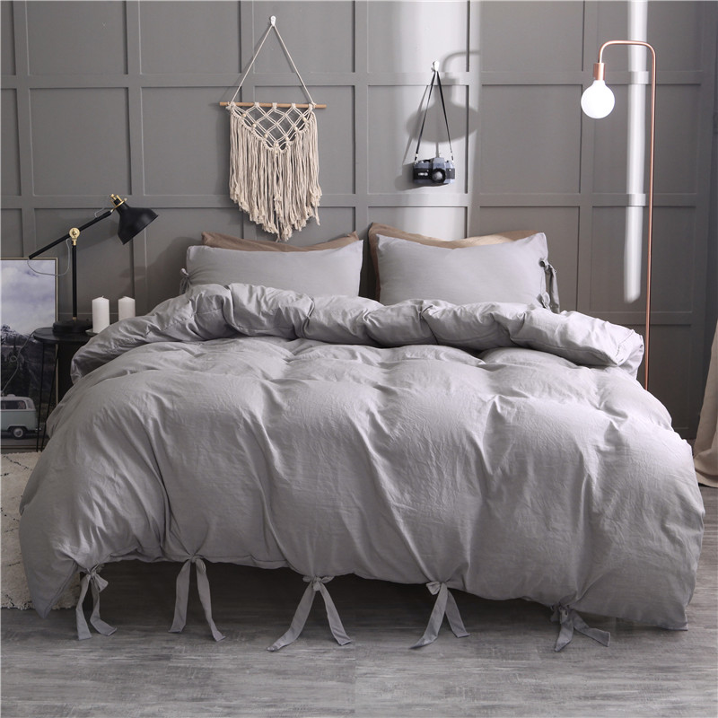 Modern Duvet Cover Set White/Black/Grey With Bow 2/3pcs Twin/Queen/King Bedding Sets (No filling,No sheet)Modern Duvet Cover Set White/Black/Grey With Bow 2/3pcs Twin/Queen/King Bedding Sets (No filling,No sheet)