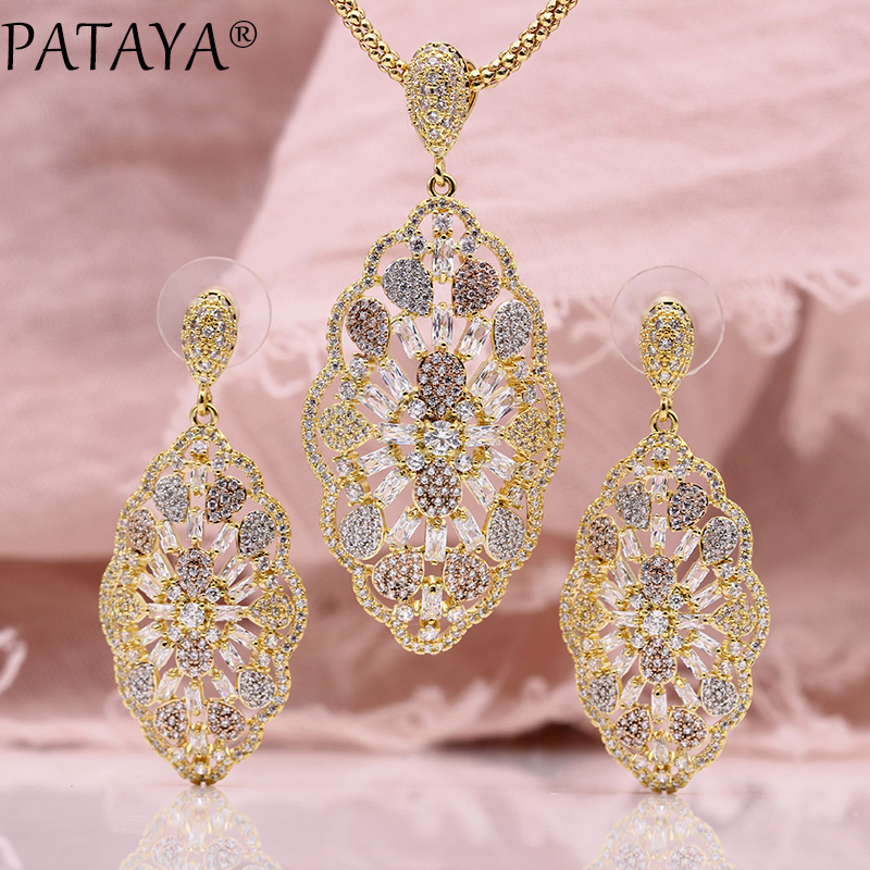 цена на PATAYA New Long Stud Earrings Necklaces Sets Women Wedding Party Luxury Noble 585 Rose Gold Natural Zircon Pendant Jewelry Sets