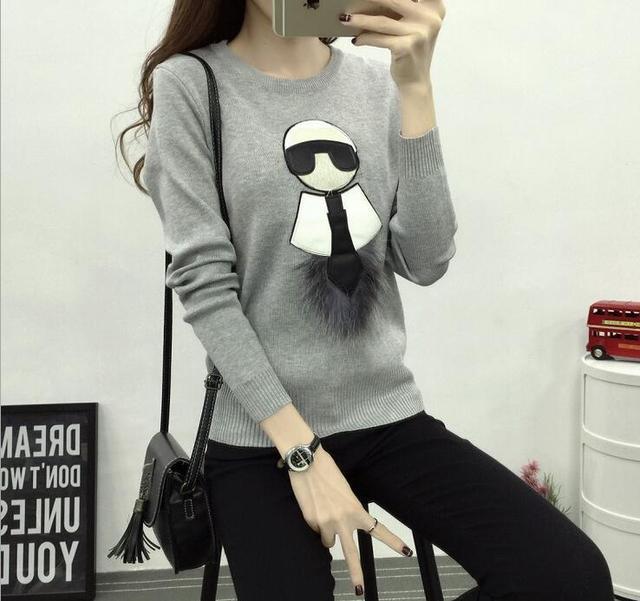 De lujo de la marca T shirt Italia gran Marca para mujer señora Karl Desinger camisetas pareja de Punto niñas ropa de Invierno manera delgada sudadera