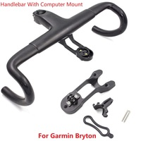 Carbon Road Bike Handlebar 3K Integrated Handlebar Bike Handle Bent Bar With Garmin Bryton Computer Mount 28.6X380/400/420/440mm