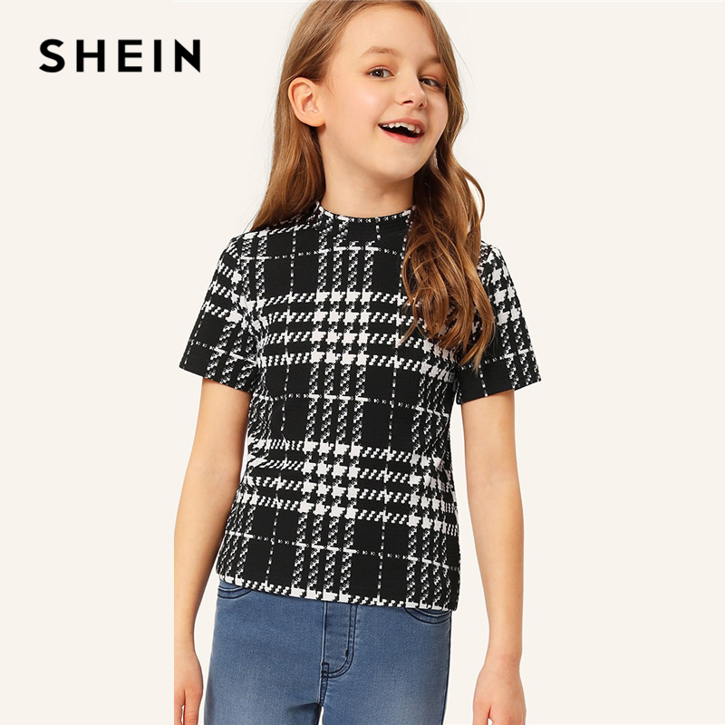 SHEIN Kiddie Black And White Houndstooth Stand Collar Preppy T Shirt For Girls Tops 2019 Summer Short Sleeve Casual Kids Tees sexy stand collar sleeveless slimming white lace up hollow out women s dress