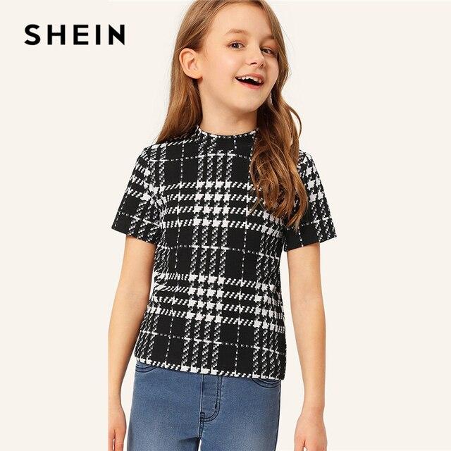SHEIN Kiddie/черно-белая футболка с круглым вырезом и стоячим воротником для девочек, топы 2019 года, Летние Повседневные детские футболки с короткими рукавами
