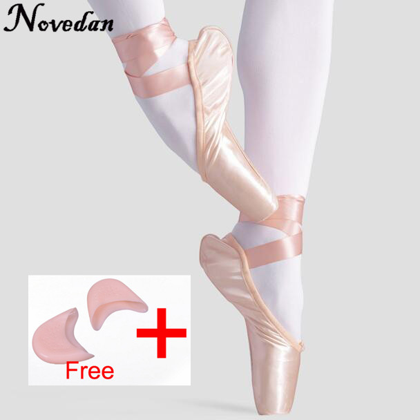 Kids Adult Pointe Shoes Ballet Dance Woman Ladies Professional Canvas Satin Ballet Pointe Shoes With Ribbons And Gel Toe Pads