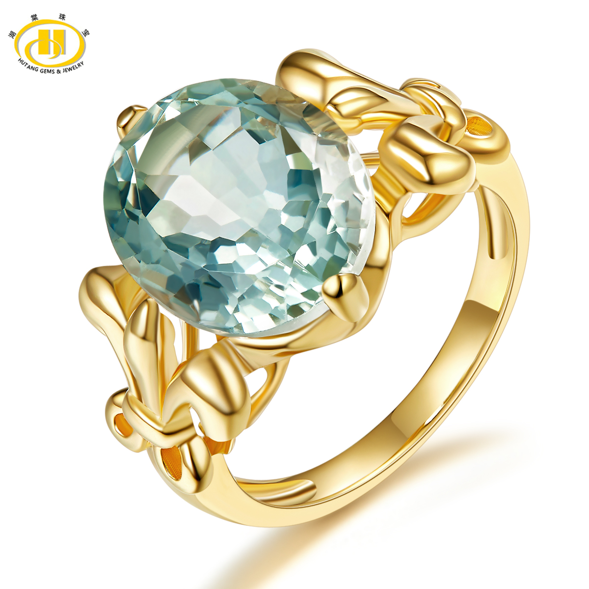 Hutang Oval 12*10mm Natural Green Amethyst Ring Solid 925 Sterling Silver Yellow Gold Plated Gemstone Fine Jewelry New Arrival
