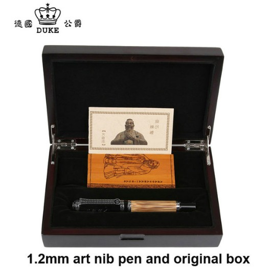 Duke Classic Confucius Series Bamboo Metal 0.1 mm Calligraphy Nib Fountain Pen with Luxury Original Gift Box Ink Pens for Gift most popular duke confucius bent nib art fountain pen iraurita 1 2mm calligraphy pen high end business gift pens with a pen case