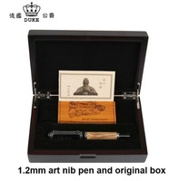 Duke Classic Confucius Series Bamboo Metal 0.1 mm Calligraphy Nib Fountain Pen with Luxury Original Gift Box Ink Pens for Gift