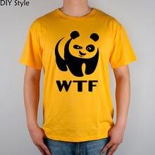 37b9843c wwf WTF funny faces Panda T-shirt cotton Lycra top 8305 Fashion Brand t  shirt men new DIY Style high quality