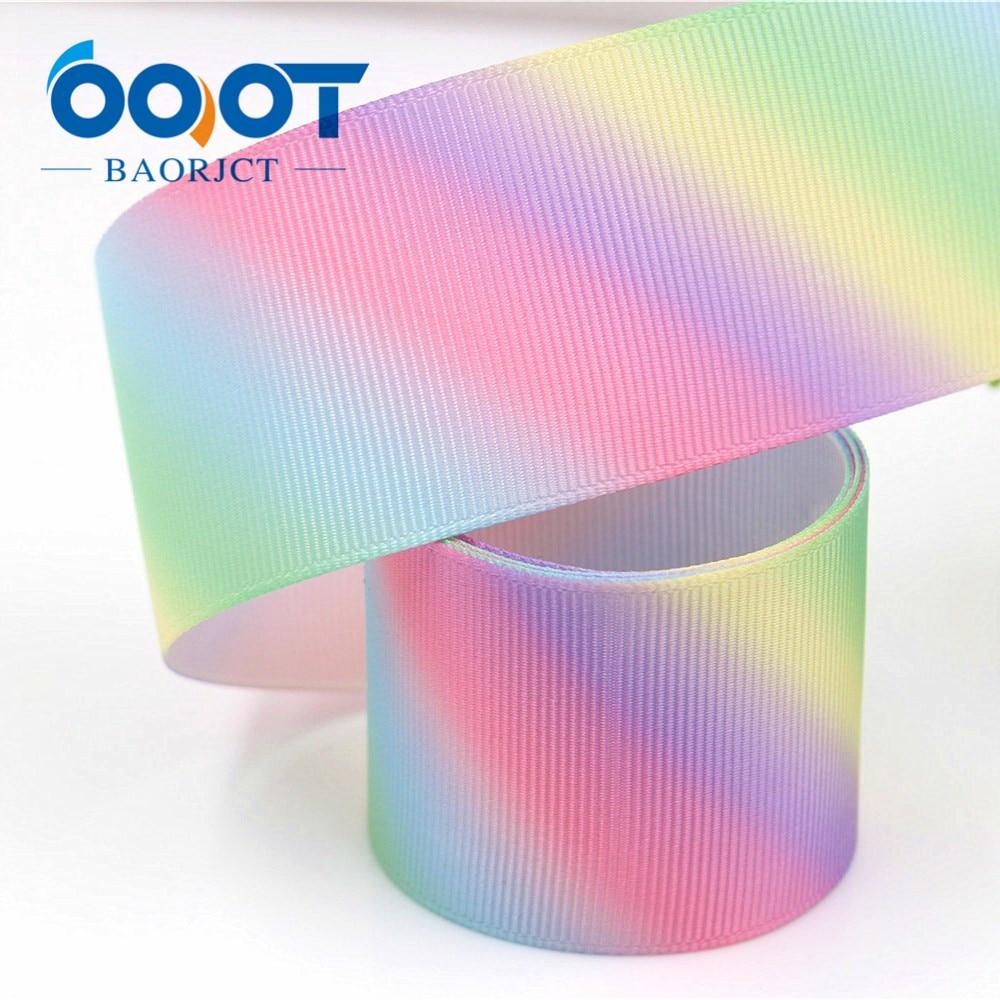 1-1/2 «широкий 38 мм радуга градиент печатных Grosgrain ленты 10yards сделай сам для волос луки и ремесла одежда для свадьбы, дня рождения украшения
