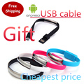 Fashion Bracelet Noodle Data Transfer Portable Sync USB 2.0 Charging Cable for Xperia HTC Samsung Nokia Galaxy XiaoMi  Android