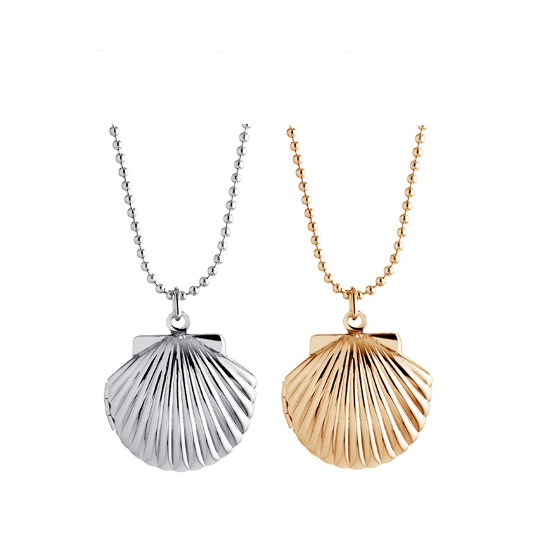New 2PCS/Lot Openable Vinage Silver Gold Shell Floating Locket Necklace For Women Jewelry,Birthday Gift,MDNEN