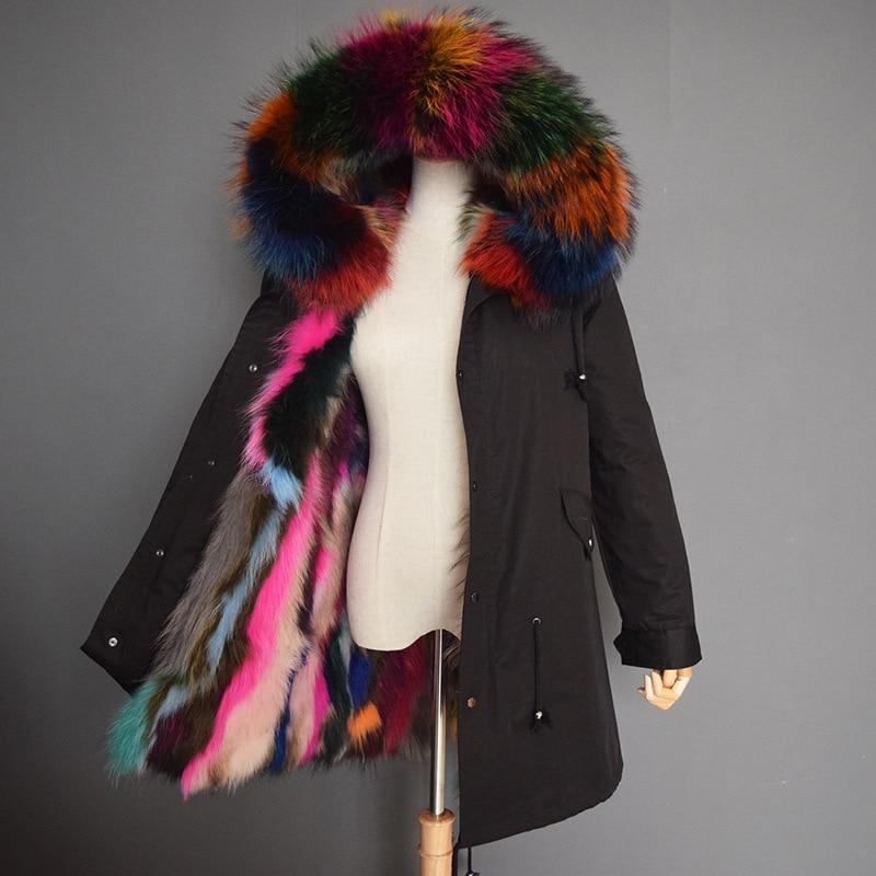 Naturale del cane di raccoon collo di pelliccia con cappuccio delle donne reale del cane di raccoon fur fodera parka donna cappotti di pelliccia 2018 nuovo autunno inverno