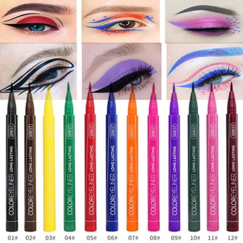 12-color eyeliner waterproofing liquid easy to use matte eyeliner blue red green white gold yellow multicolor image