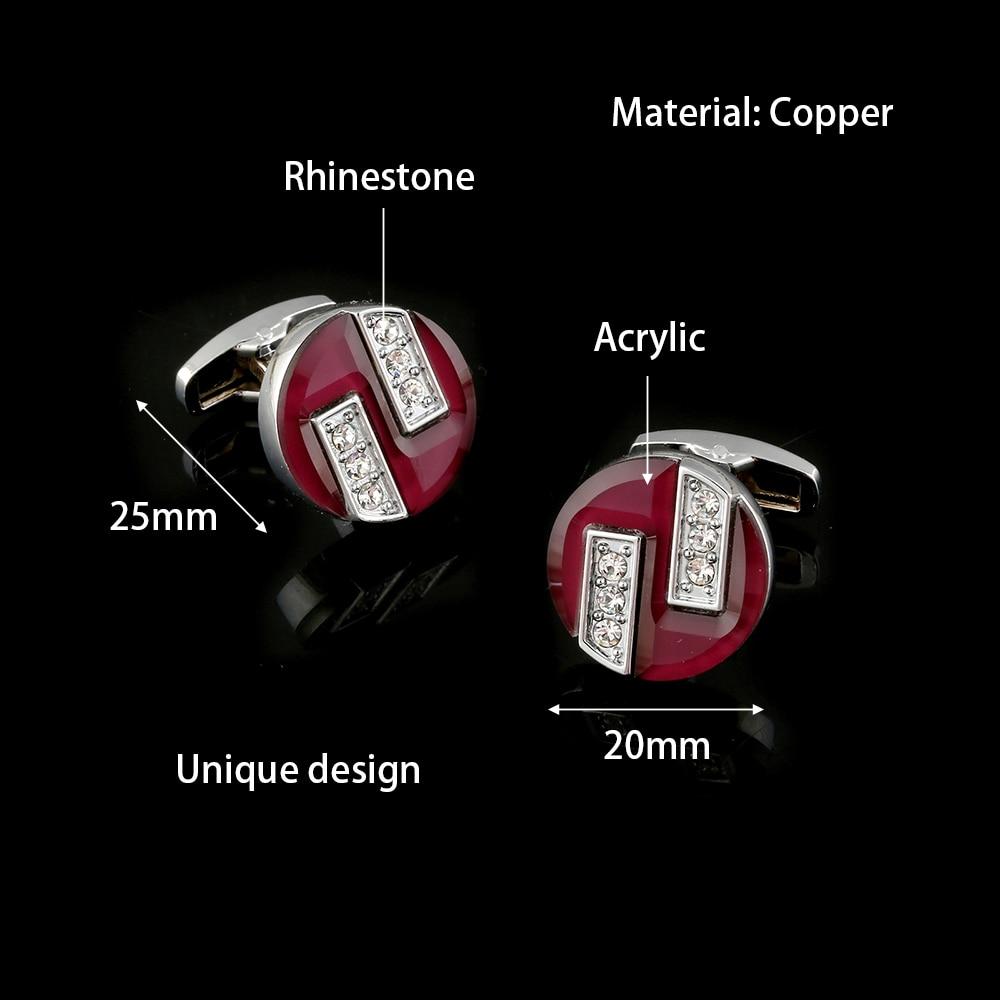 Red Cufflinks Jewelry Groom Rhinestone Romantic Wedding-Gemelos Classic Men's High-Quality