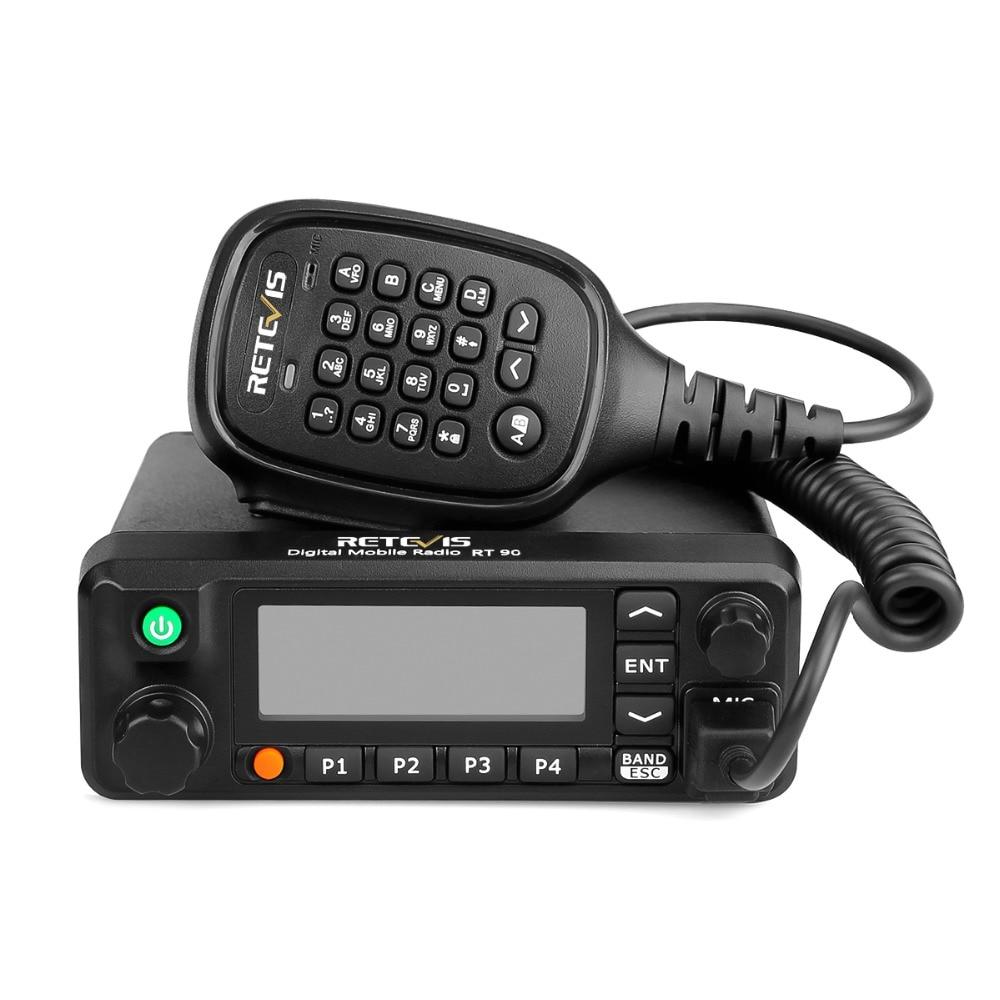 Retevis RT90 DMR デジタル携帯ラジオ GPS VHF 、 UHF トランシーバデュアルバンド 50 ワットモバイルカー双方向ラジオ局プログラムケーブルで  グループ上の 携帯電話 & 電気通信 からの トランシーバー の中 1