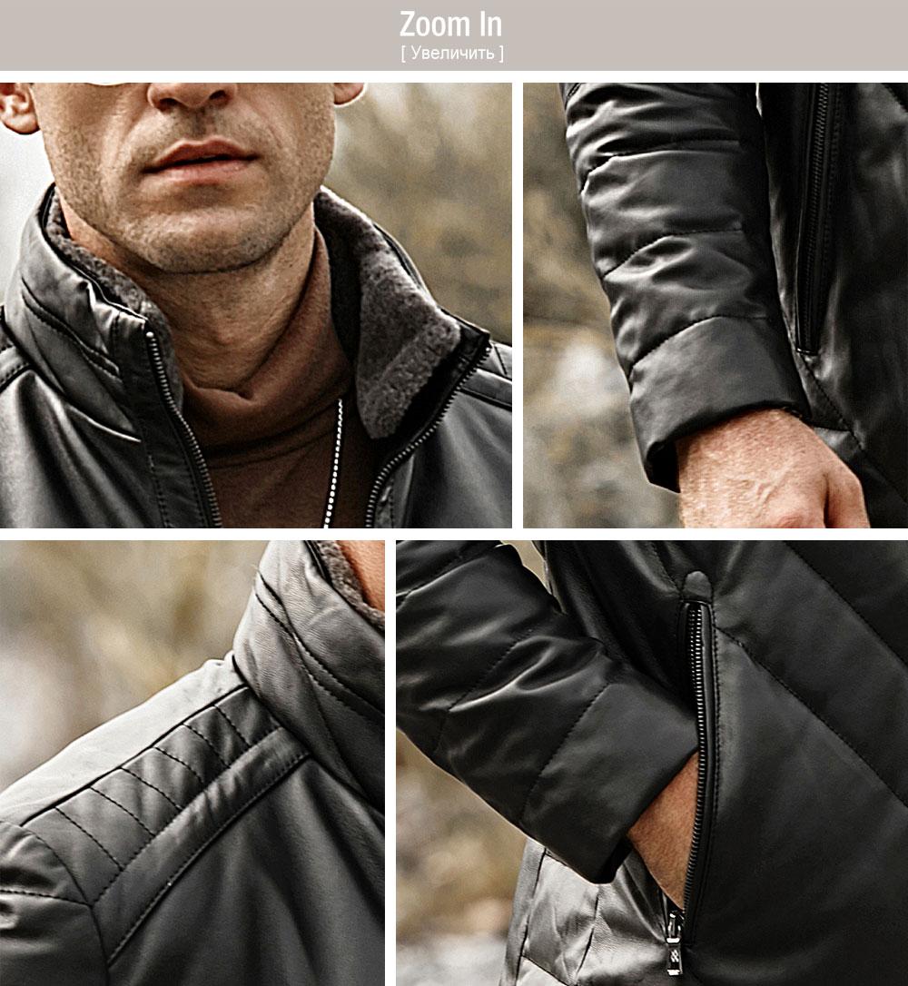 HTB12cbDFMmTBuNjy1Xbq6yMrVXan FLAVOR Men's Real Leather Down Jacket Men Genuine Lambskin Winter Warm Leather Coat with Removable Standing Sheep Fur Collar