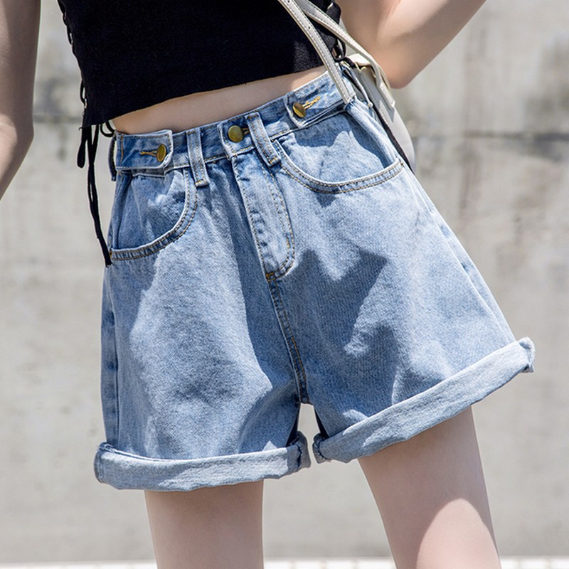 Plus Size S-5XLSummer New Korean High Waist Denim   Shorts   Women Curled Loose Wide Leg   Shorts   Streetwear Jeans   Short   Pants Women