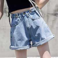 S-5XL размера плюс женские шорты с высокой талией женские повседневные минималистичные джинсовые шорты летние модные джинсовые шорты для жен...