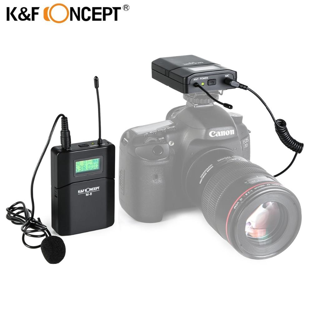 K&F CONCEPT M-8 Camera Microphone Wireless Lavalier Mic Receiver +Transmitter Record Radio For Nikon Canon Sony DSLR Microfone