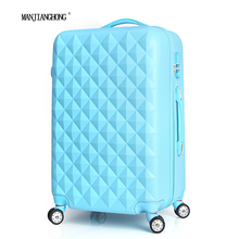 28″ High quality Diamond lines Trolley suitcase /travell case luggage/Pull Rod trunk rolling spinner wheels/ ABS+PC boarding bag