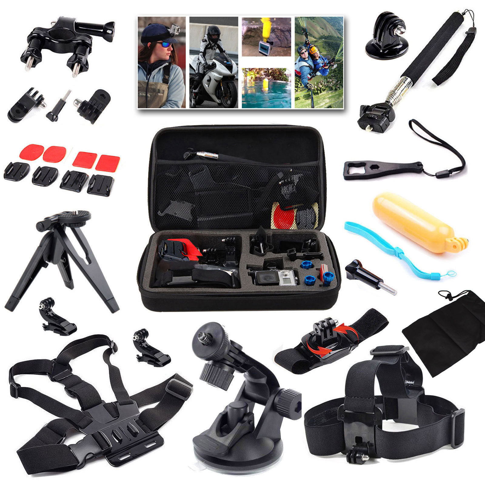 15 In 1 Sport Action Kamera Zubehör Kit Für Gopro Hero 4 3 + Sjcam Sj4000 Wasserdichte Video Kamera Mit Tragetasche Dauerhaft Im Einsatz