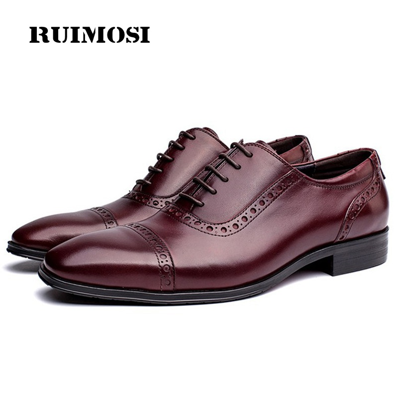 RUIMOSI New Vintage Man Semi Brogue Shoes Genuine Leather Formal Dress Oxfords Round Toe Derby Wedding Bridal Men's Flats GD61