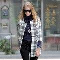 Euro style Plaid trench coat women three quarter distachable casaco feminino kaban size S M L XL