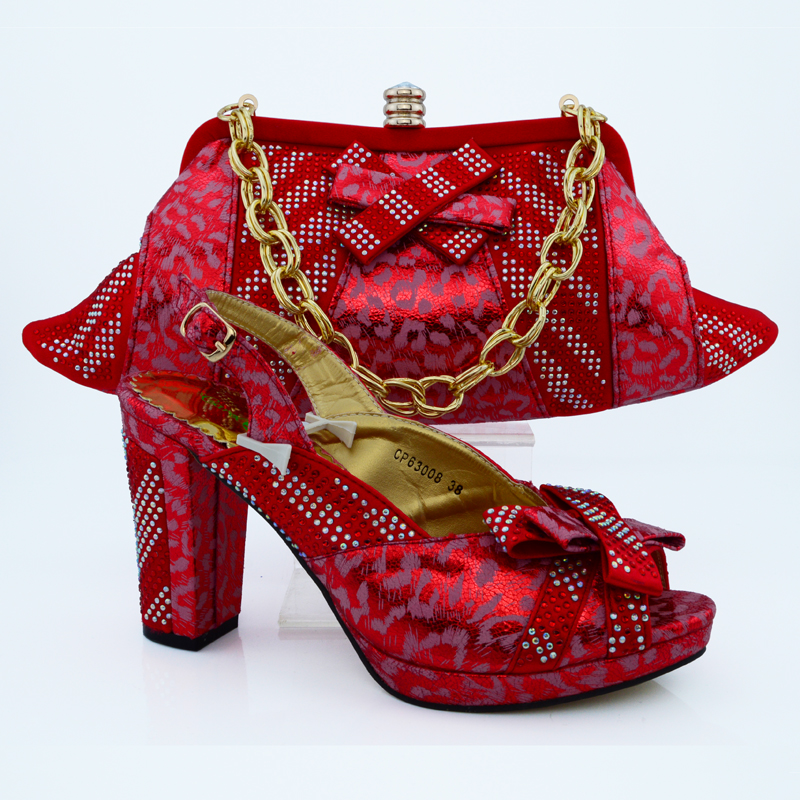 ФОТО Top Quality Matching Shoe And Bag Set With Rhinestones Italian Fashion Women Shoes With Match Bags For Wedding CP63008 Red Color