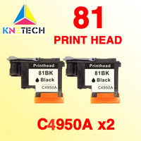 2pcs BLACK Print Head For HP 81 Designjet 5000 5000ps 5500 5500ps Printer