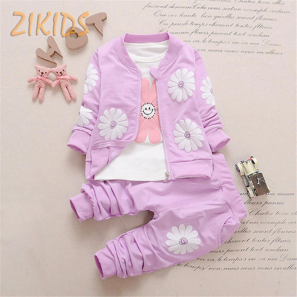 3 Pcs Baby Boys and Girls Clothing Sets Autumn  Sunflower Coat +T-shirts + Pants Set Kids Children Clothes Brand 4 Colors Hot 2016 korean style cute girl printed sets children s clothes short t shirts pants 2pcs girls clothing retial 0 4t kids coat