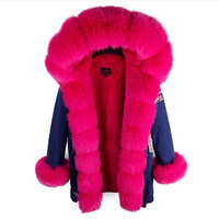 Women's Fashion Winter Thick Natural Real Large Fox Collar Cuff Jeans Coats Parkas Female Casual Denim Fleece Jackets Cowboys
