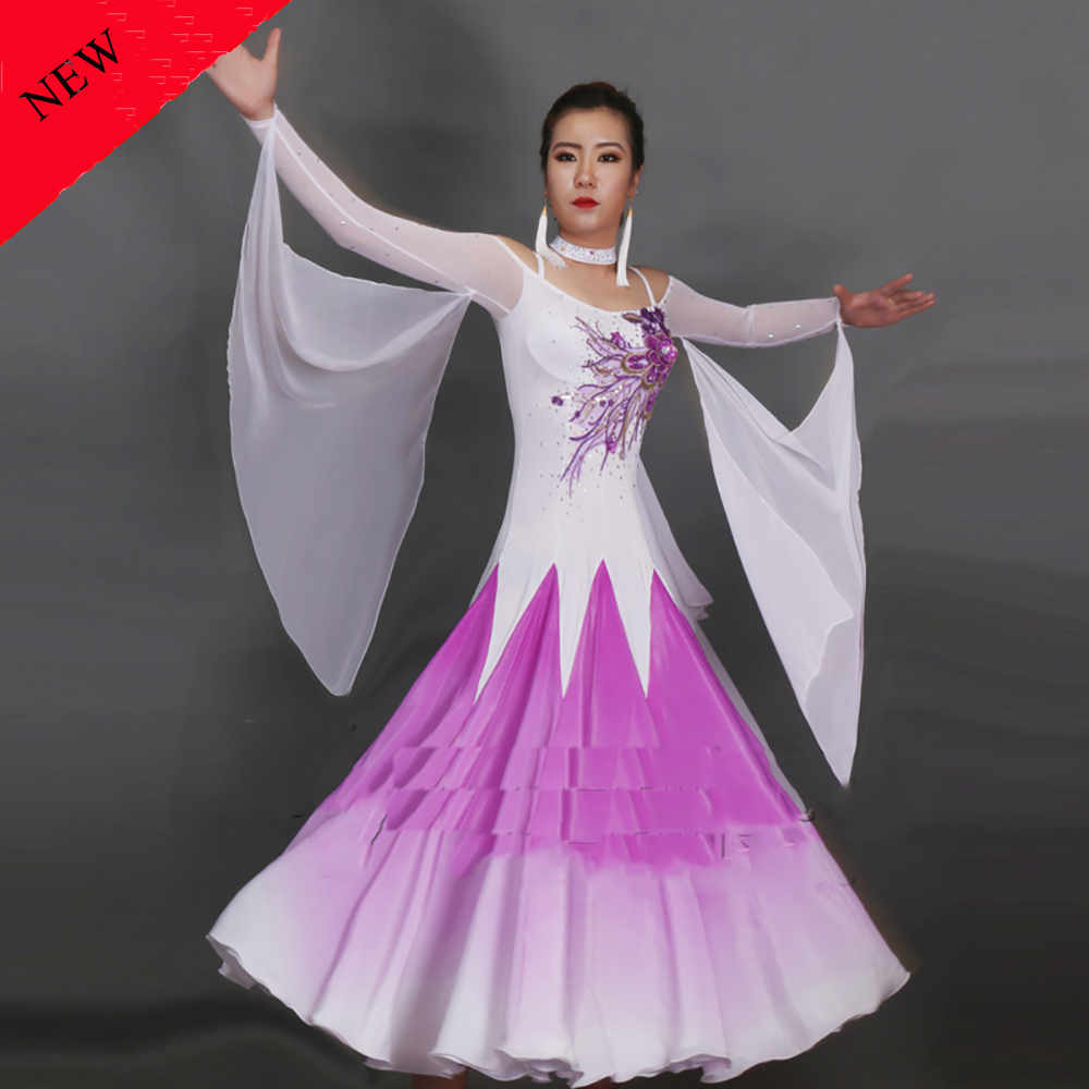 Fantasia Modern Dance Dresses for Ladies Purple Blue Color Fabric Clothes Women Tango Compete Professional Ballroom Garment B113