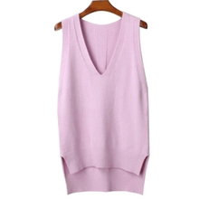 Women's Sweater Vest Autumn Loose Sleeveless V Neck Knitted Vests Female Jacket Knit Sweaters Pullovers for Women