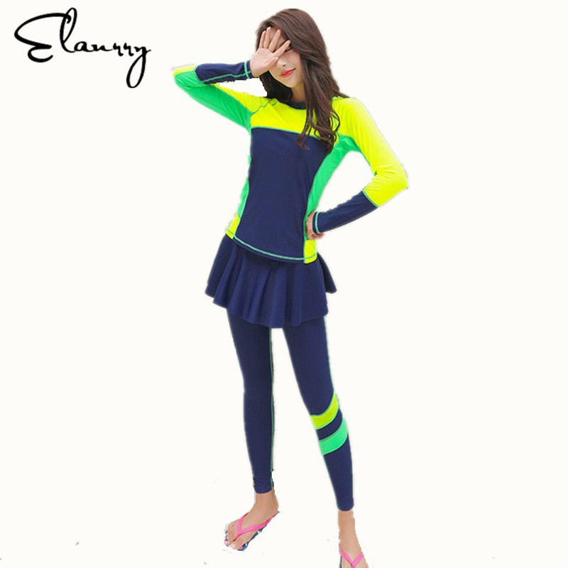 Elanrry 2017 Newest Long Sleeves Women Rash Guards Two-Pieces Plus Size Sport Swimsuit Girls Sexy Long Pants Swimwear sweet plus size scoop neck flounce sleeves chiffon blouse for women