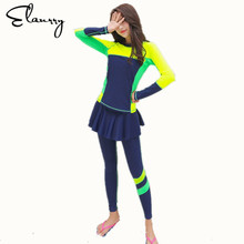 c66fed465d Elanrry 2017 Newest Long Sleeves Women Rash Guards Two-Pieces Plus Size  Sport Swimsuit Girls