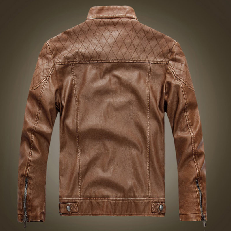 Цоврлге Мушка кожна јакна Мода Слим - Мушка одећа - Фотографија 5