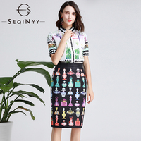 SEQINYY Fashion Set 2019 Summer New Fashion Design Short Sleeve Shirt + Slim Black Skirt Perfume Bottle Printed Suit Women