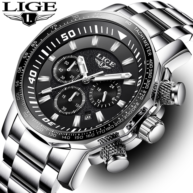 все цены на Men Watch LIGE Top Brand Luxury Fashion Quartz Clock Men's Business Waterproof Big Dial Military Sport Watches Relogio Masculin онлайн