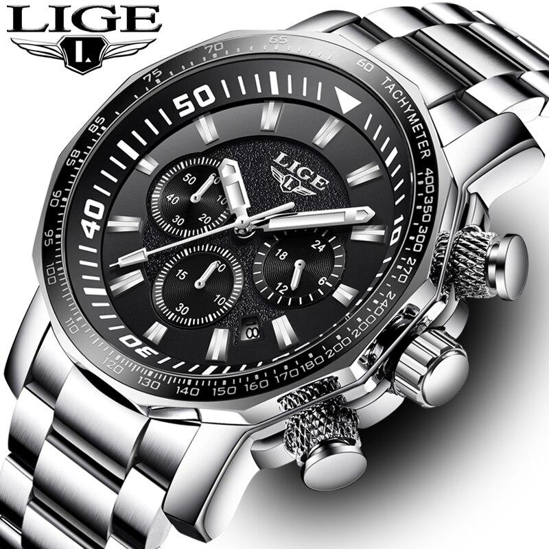 Men Watch LIGE Top Brand Luxury Fashion Quartz Clock Mens Business Waterproof Big Dial Military Sport Watches Relogio Masculin