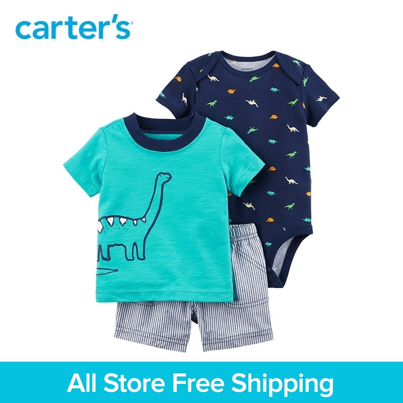 3pcs dinosaur print bodysuit tee striped shorts clothing sets Carter's baby Boy soft cotton Spring Summer 121I389 knot detail striped bodysuit