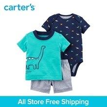 3pcs dinosaur print bodysuit tee striped shorts clothing sets Carter's baby Boy soft cotton Spring Summer 121I389
