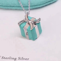 Luxury Jewelry Hot Selling 100 925 Sterling Silver Green Enamel Gift Box Pendant Necklaces For Women