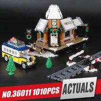 Lepin 36011 Genuine 1010Pcs Creative Series The Winter Village Station Set Building Blocks Bricks Educational Toys