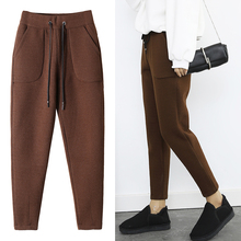 2018 Autumn Winter Pants Warm Women Ankle Length Woolen Pant Thick High Waist Trousers Loose Work Casual Solid Wear Harem Pants