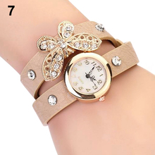 Retro Vintage Type Women's Pendant Rhinestone Leather Quartz Butterfly Bracelet Watches New Design