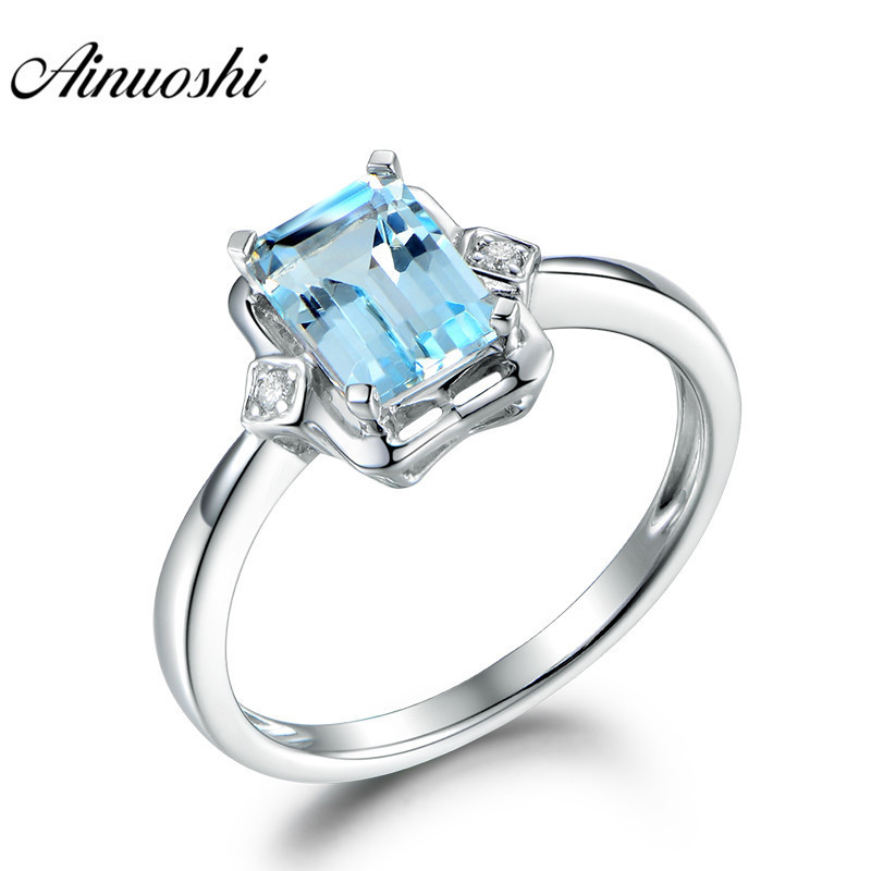 AINUOSHI Genuine 925 Sterling Silver Topaz Ring 1ct Emerald Cut Natural Sky Blue Topaz Ring Fine Engagement Jewelry for Woman helon sterling silver 925 flawless 11x9mm emerald cut 4 36ct real blue topaz natural diamond engagment wedding ring fine jewelry