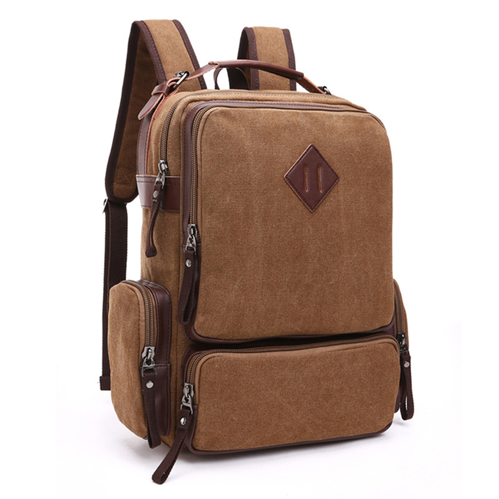 Retro Canvas Laptop Backpack Men's College Bookbag Vintage Stylish Daily Travel Laptop Backpacks Bag retro style two front pockets laptop compartment vintage canvas solid color backpack