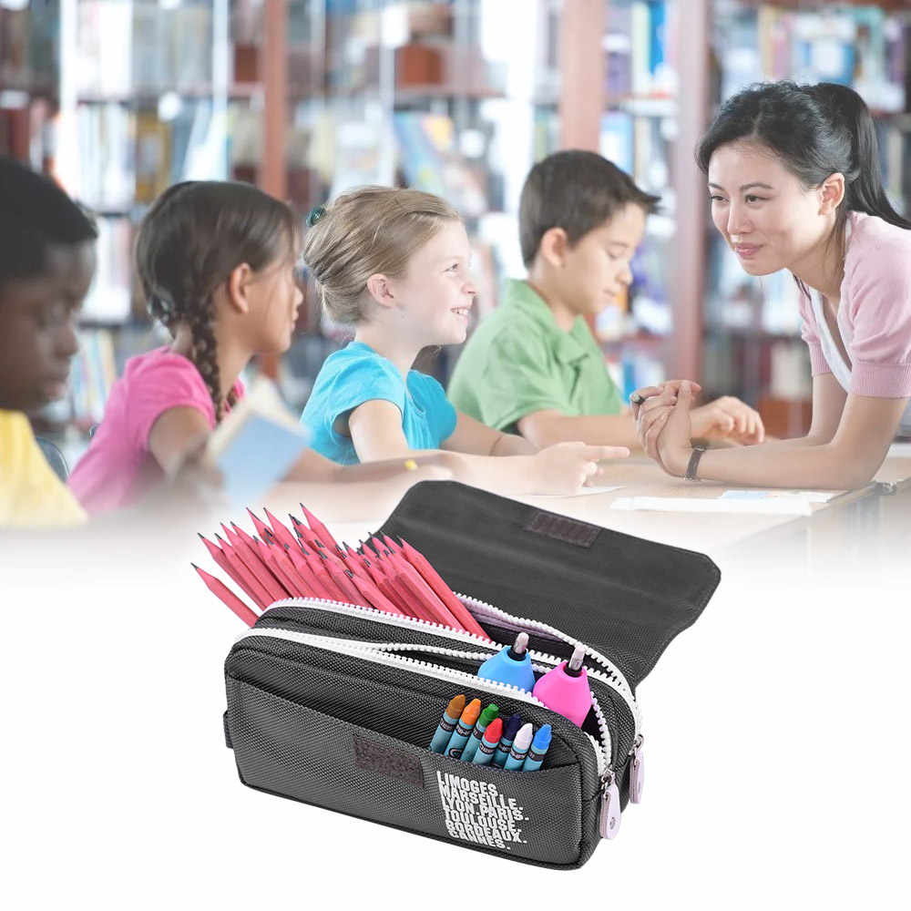 Large Capacity Pencil Cases Office School Supplies Canvas Pen Pouch Durable Stationary Organizer Bag with Double Zippers