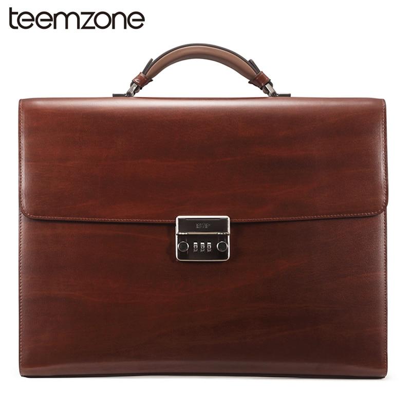 teemzone Password Business Bag Men's Genuine Leather Vintage Formal Lawyer Briefcase Messenger Shoulder Attache Portfolio T1016