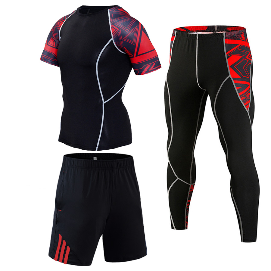 Mens Shorts Suits 1-3 Piece Tracksuit Hot Selling Fitness Jogging Suit S-4XL Sportswear Compressed MMA Sports Suits Tights