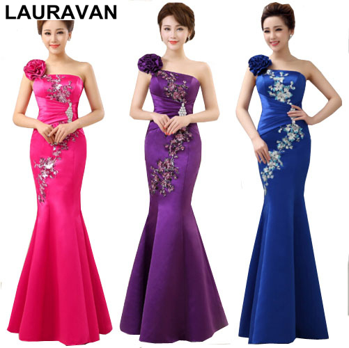 Party Purple Red Long Bridesmaid Formal Women Mermaid Dress One Shoulder Birthday Dresses For S Free Shipping In From